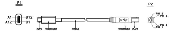USB2.0 type c打印线接线图